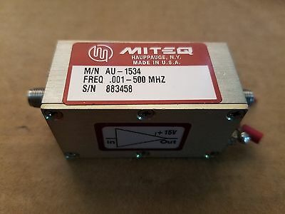 Miteq M/N AU-1534 .001-500MHz RF Microwave Amplifer Amp SMA(f) +15V Made in USA