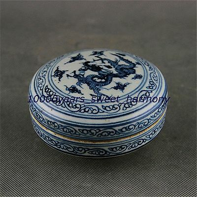 Exquisite Chinese Blue and white porcelain dragon veins Box ZK0288