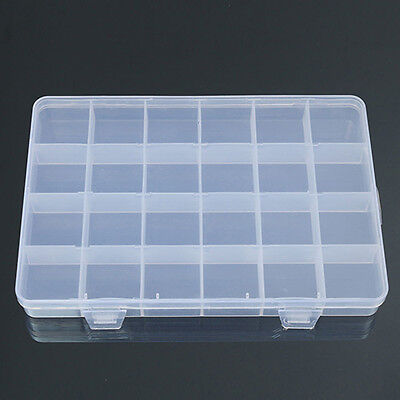 24 Compartments Plastic Box Case Jewelry Bead Storage Craft Organizer Intriguing