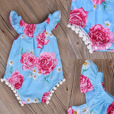 UK New Newborn Baby Girls Bodysuit Kids Romper Jumpsuit Outfits Sunsuit Clothes