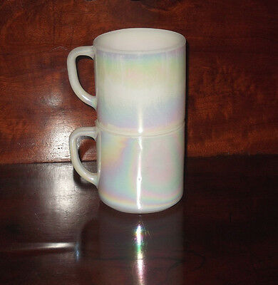 Vintage Fire King Pearl Lustre Mugs White Iridescent Milk Glass Stackable Cups