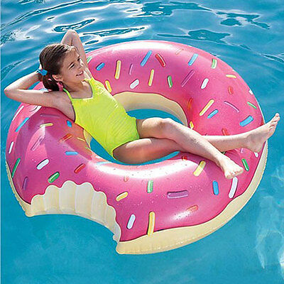 PUMPT STRAWBERRY DONUT Giant Pink Inflatable Pool Toy Float Ride-On Lie-On