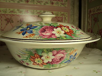 "Weatherby Hanley England Royal Falcon Ware 10"" deco lidded tureen pretty floral"