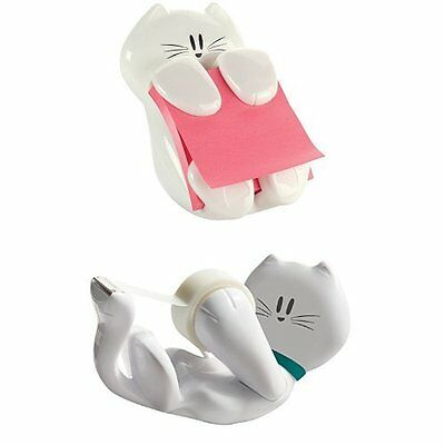 Cat Pack Post-it Cat Figure Pop-up Note Dispenser and Scotch Kitty Dispenser wit