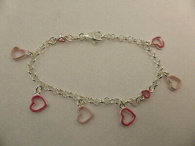New Solid Sterling Silver & Pink Enamel Childs Heart Charm Chain Bracelet 16.5cm