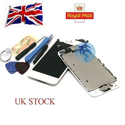 White For iPhone 5 LCD Touch Screen Digitizer Replacement +Home Button Camera UK