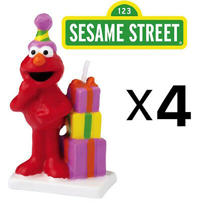 Wilton Elmo Sesame Street Birthday Cake Candle Topper, Handpainted (4-Pack)