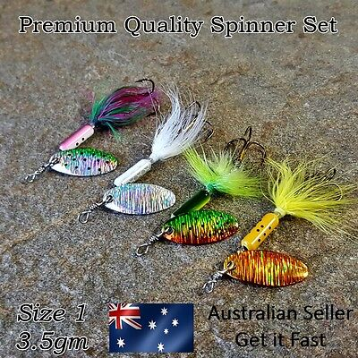 4 x Freshwater Spinners Trout Lure, Redfin, Perch, Yellowbelly, Bass, Size 1