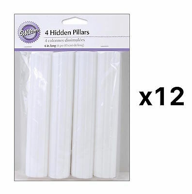 Wilton Hidden Cake Pillars White 6in Trimable Pack Of 4 Hollow Plastic (12-Pack)