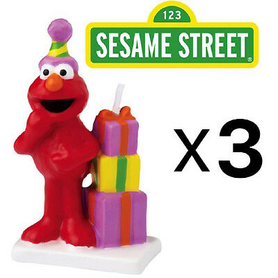 Wilton Elmo Sesame Street Birthday Cake Candle Topper, Handpainted (3-Pack)