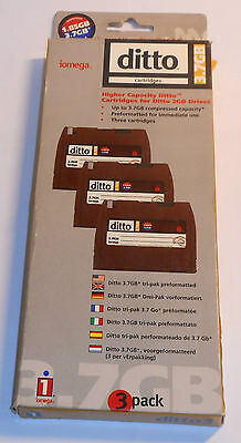 DATA CARTRIDGE, DITTO, 3.7 GB, FOR DITTO 2GB DRIVES,3-pak , IOMEGA, new