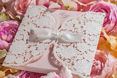 50 x Personalised or Blank Laser Cut Wedding Invitations with Envelope CW5196