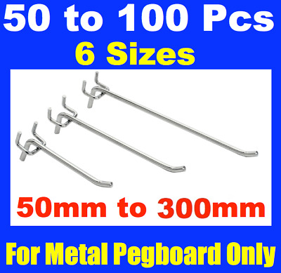 New PegBoard Hook Peg Board Panel hooks 6x sizes available 50mm to 300 mm