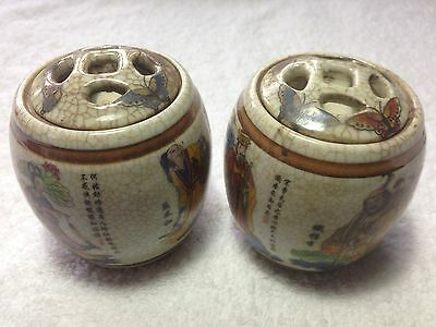 Pair of Antique Chinese Eight Immortals Famille Rose Pot With Lids (Signed)