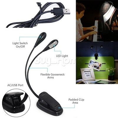 2 Dual Flexible Arms 8-LED Clip-On Light Lamp for Piano Music Stand Book Reading
