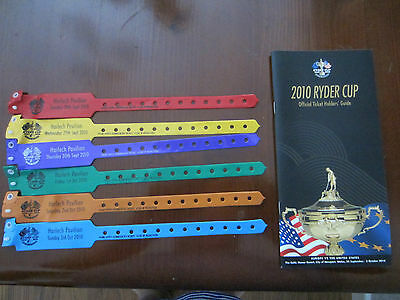 Ryder Cup 2010 Celtic Manor Official Ticket Holders Guide & Wrist Bands for Week