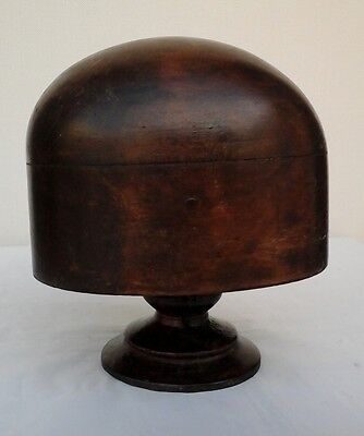 Vintage Wooden Hat Block/Form with Stand, Millinery Display.