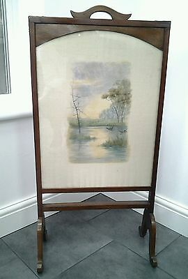 Antique Edward  Fire Sceen with lake scene on silk  panel (STAFFORD)