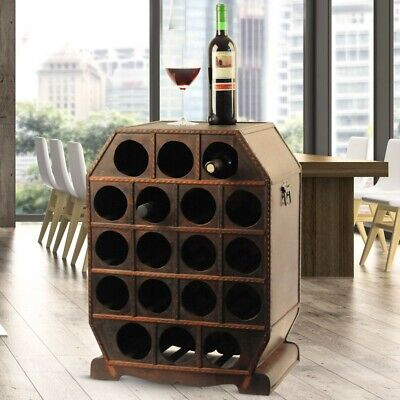 Rustic wine rack drinks storage cabinet 18x bottles of wooden box stands brown