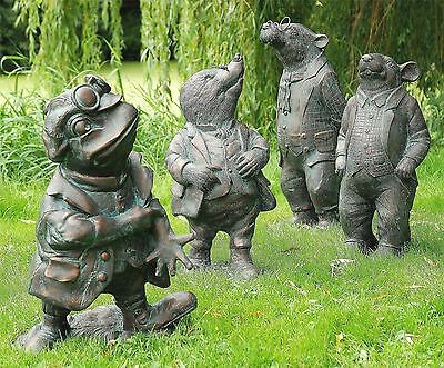 Antique Finish Cast Resin Wind In The Willows Garden Statue - Full Set Of 4