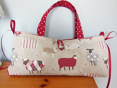 Hand Made Lovely Lined Knitting/craft Bag In Cute Sheep Fabric Two Pockets