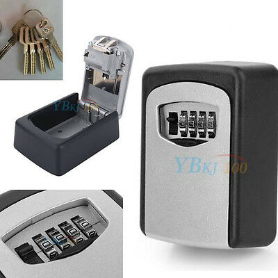 Outdoor Security Wall Mounted Key Safe Box Password Code Lock Storage 4 Digit AA