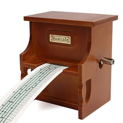 Wood Hand Crank DIY Compose Music Box + Puncher + 30 Tape Strips Creative Gift