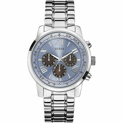 Guess Mens Watch 'Horizon' Chronograph Blue Dial Stainless Steel Strap W0379G6