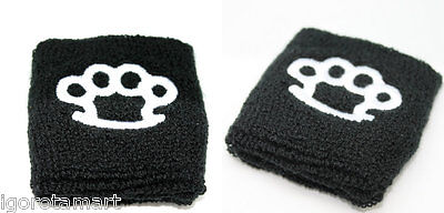 Great Soft Black Pair White Print Sport Activities Cotton  Sweatband Wristband