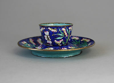 19th Century Chinese Painted Canton Enamel Cup and Saucer