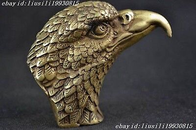 Rare Collectibles Old Decorated Handwork Copper Carving Eagle Head Statue NO84