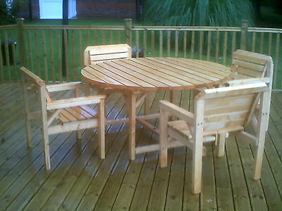 Adult garden Patio set. 5ft Round table with 4 Chairs