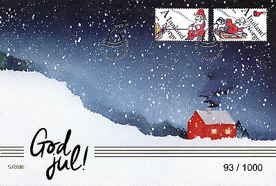 Norway 2016 FDC Christmas 2v GOLDEN Cover Father Christmas Santa Claus Stamps