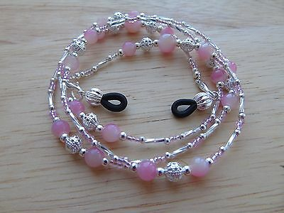 Handmade Pink Beaded Spectacle / Glasses Chain / Necklace.