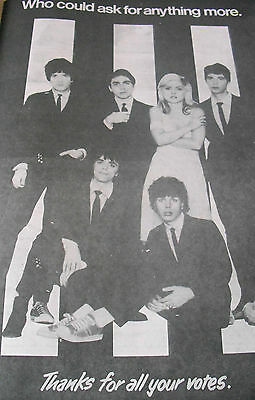 Blondie Original From 1979 Thanks For All Your Votes Advert Full Page A3