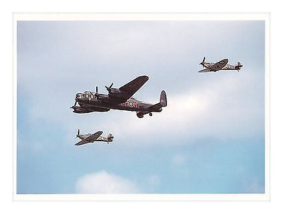 SPITFIRE, LANCASTER and HURRICANE RAF WW II AIRCRAFT AVIATION LIBRARY POSTCARD