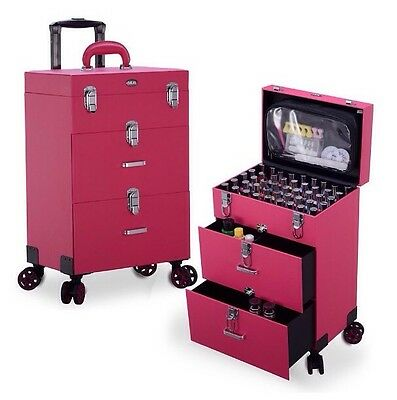 Rolling Box Trolley Nail Polish Professional Large Bag With Storage Drawers Lock