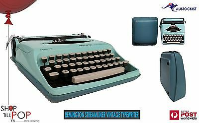 Aqua Mint Remington Streamliner Sperry Rand Portable Typewriter Vintage c 1950s