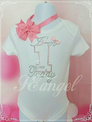 1st birthday girls outfit vest+headband pink&silver diamante 12-18m