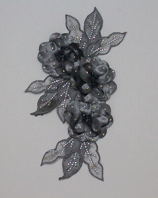 1Pcs Leaves Flowers Chiffon AB Crystal Beaded Lace Applique Motif~Sew On~Grey