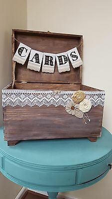 Rustic Wedding Card Box Card Holder with Burlap and Lace Cards Banner Rustic Wed
