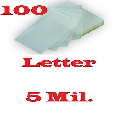 100 Letter Size 5 Mil Laminating Pouches Sheets 9 x 11-1/2 Free Carrier