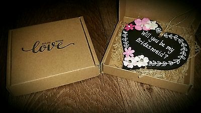 Personalised Will you be my Bridesmaid Maid of Honour Flower Wooden Plaque