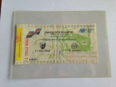 RED STAR BELGRADE v OLYMPIQUE MARSEILLE 1991 Champions Cup Final ticket