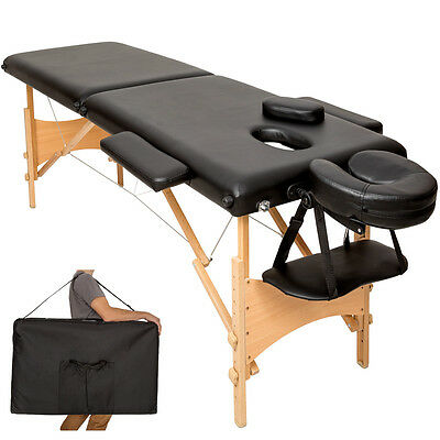 Lightweight portable massage table folding therapy beauty black 2 zones + bag