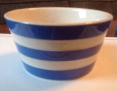 Cornish Ware Sugar Bowl T G Green, Blue and White Stripes. Made in England.