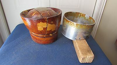 """GREAT Antique Wood Wooden Block Form Mold Millinery PIECES PUZZLES 22""""3/4 #12"""