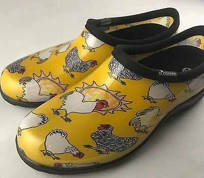 Sloggers Chicken Print Collection Women's Rain and Garden Shoe, Size 9, Yellow