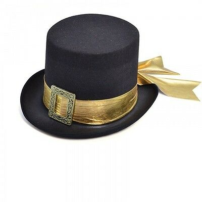 Top Hat Black With Gold Belt Fancy Dress Costume Elegant Party Outfit Adult Hat