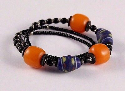 Vintage African Moroccan Butterscotch Amber Trade Bead Black Onyx Necklace